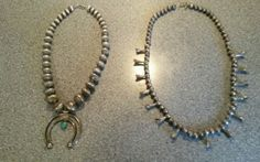 2 Handmade Sterling Navajo Necklaces Squash Blossom & Virginia Tso Fluted Beads