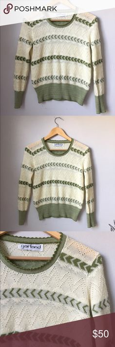 vintage 70s 80s pointelle eyelet pullover sweater *$30 via my etsy link in profile!* beautiful green & cream colored pullover sweater with pointelle & eyelet detailing, late 70s / early 80s. brand is garland, no fabric tag but feels like an acrylic (not itchy!). great vintage condition, no major flaws, only gently worn. no size tag - fits like a small but depends on desired fit. measurements taken with garment laying flat: 18 inches pit to pit, 16 inches across shoulders, 21 inches long…