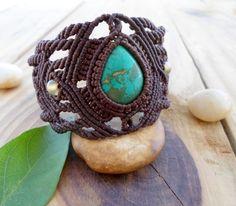 Bracelet macramé turquoise, bijoux micromacrame, brassard de macramé, micro macramé, bracelet boho, Pierre de macramé, cabochon turquoise