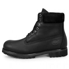 """Timberland 6"""" Premium Mens 10054 Black Leather Waterproof Boots Shoes Size 10"""