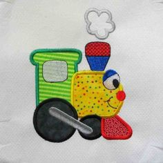 On the Move Train Embroidered and Applique Quilt Block