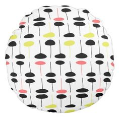 Stem Pod Round Pillow: Yellow Pink Black Round Pillow - home gifts ideas decor special unique custom individual customized individualized