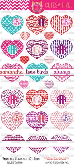 Valentines Hearts Designs Monogram Frames  Please have a look at my other art! https://www.etsy.com/shop/CutesyPixel  This is Digital artwork ready for immediate download and ready to be use on such software as Cricut Design Space, Silhouette Studio and other cutting software. The high quality files will cut cleanly and smoothly since they are professionally digitized instead of auto-traced.  ----------------------- ★★ Package Included ★★-----------------------------------...