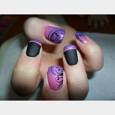 #IHeartNailArt . Matte nails with gradient purple and pink #nail design #french