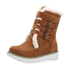Carolbar Women's Multi Buckle Hook-And-Loop Comfort Retro Snow Boots * Check out this great product.