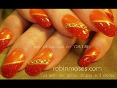 simple red design with pigments and stones: robin moses nail art tutorial