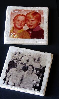 Transferring photos onto tiles using nail polish remover