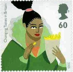 Culinary postage stamp from the United Kingdom of fries aka chips