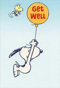 Snoopy Hanging from Balloon envelope) Sunrise Greetings Peanuts Get Well Card - FRONT: Get Well INSIDE: Hang in there. You'll feel better soon.