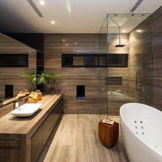 Luxury Contemporary Bathroom, CH House by GLR Arquitectos House Bathroom, Modern Bathroom Design, Wooden Bathroom, House Interior, Bathroom Interior, Dream Bathroom, Luxury Bathroom, Bathrooms Remodel, Beautiful Bathrooms