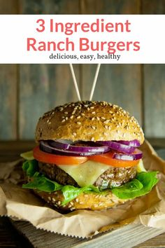 The most delicious three-ingredient ranch burgers that can be made with ground beef, ground turkey, or ground chicken. Super easy and packed with flavor! Perfect for dinner, this healthy recipe from Slender Kitchen is MyWW SmartPoints compliant and is gluten free, low carb and Whole30. #freezerfriendly #kidfriendly #quickandeasy