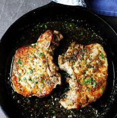 Brown Sugar Pork Chops with Garlic and Herbs are as delicious as they sound. The sweet brown sugar sauce is perfectly balanced by garlic and dried herbs like thyme and oregano. Juicy pork chops dish that comes together in no time. Pork Chop Dishes, Pork Chop Recipes, Meat Recipes, Cooking Recipes, Recipies, Hamburger Recipes, Smoker Recipes, Polish Recipes, Barbecue Recipes