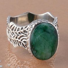 925 SOLID STERLING SILVER EMERALD RING 10.90g DJR2830 #Handmade #Ring