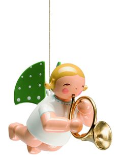 suspended angel with french horn 2 tall new 2015 with a wendt and khn presentation - German Handmade Wooden Christmas Decorations