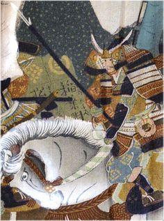 japanese hand painted samurai scene on man's silk haori kimono jacket lining , 1930's
