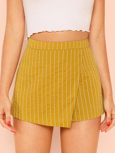 Elegant Striped Straight Leg Regular High Waist Mustard Overlap Front Shorts