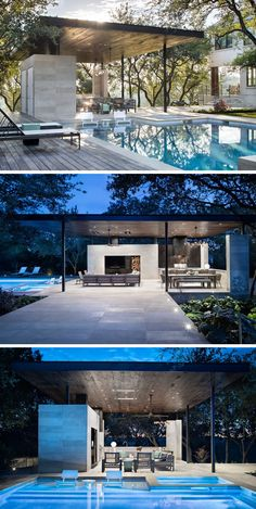 This Poolside Living Room And Kitchen Sits Under A Large Floating Canopy - This modern steel, limestone, and wood outdoor pavilion has a living room, an outdoor kitchen with - Modern Outdoor Living, Modern Outdoor Kitchen, Outdoor Living Rooms, Outdoor Kitchens, Outdoor Cabana, Outdoor Pavilion, Pool Cabana, Canopy Outdoor, Pool House Designs