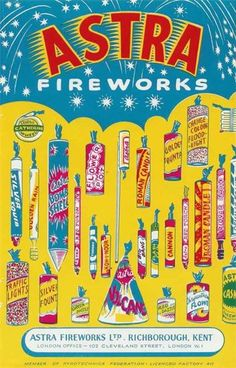 Vintage fireworks, packaging (Amazing Fireworks) ~ print out in miniature and fill with thin metal wire