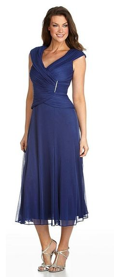 Alex Evenings 132241 Portrait Collar Tea Length Mesh Dress with Rhinestone