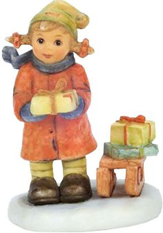 "Amazon.com: Custom & Unique {2"" Inch} 1 Single, Small Home & Garden ""Standing"" Figurine Decoration Made of Grade A Resin w/ Good Tidings Child Holding Presents Style {Multi Color}: Home & Kitchen"