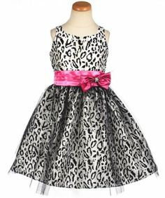 Cute black and white cheetah dress with pink accent.