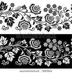 Find Seamless Floral Border stock images in HD and millions of other royalty-free stock photos, illustrations and vectors in the Shutterstock collection. Border Embroidery Designs, Folk Embroidery, Hand Embroidery Patterns, Embroidery Stitches, Indian Embroidery, Conceptual Drawing, Fabric Stamping, Silhouette Art, Stencil Painting