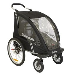 """$356.66-$499.99 Baby Joovy Cocoon Enclosed Single Stroller Black - The new Joovy Cocoon is a stroller, jogger, and bicycle trailer all in one so you and your little one be active together! It features pneumatic front wheels and 20"""" pneumatic rear wheels to provide a smooth ride and a 5-point harness and breathable seat bottom for safety and comfort. There's no need to purchase an extra weather s ..."""