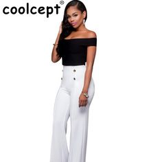 3cae17982143 New Women Spring Summer Pure Color Casual Jumpsuit Slash Collar Short  Sleeve Off Shoulder Back Bangdage Tops And Wide Leg Pants   Price   24.00    FREE ...