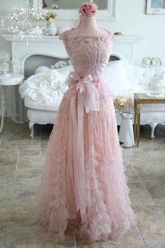 Vintage Pink Wedding Gown