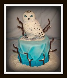 4 stacked vanilla cake covered with fondant and airbrushed, top is sculpted RKT covered in fondant. Sticks are modeling chocolate on wires and topped with a little BC frosting for a snowy effect. This was a birthday cake for triplet boys. Harry Potter Owl, Harry Potter Birthday, Owl Cakes, Ladybug Cakes, Cake Decorating Classes, Decorating Ideas, Marshmallow Fondant, Beautiful Owl, Beautiful Cakes