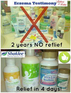 http://gatheredinthekitchen.com/2014/03/19/shaklee-eczema-testimony/  find the products at soup.myshaklee.com