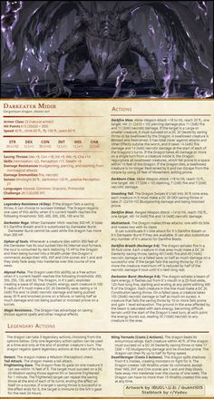 For those DMs that are tired of their tier 4 party steamrolling everything, here's my favorite Boss Fight ever turned into DND : DnDHomebrew Dungeons And Dragons Rules, Dnd Dragons, Dungeons And Dragons Homebrew, Cool Monsters, Dnd Monsters, Dnd Characters, Fantasy Characters, Dnd Stats, Create Your Own Adventure