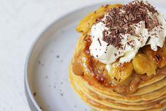 Pancakes Μπανόφι Cookbook Recipes, Cooking Recipes, Banoffee, Pancakes, Healthy Living, Banana, Breakfast, Food, Morning Coffee