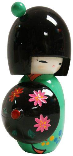 Japanese Geisha Doll Green with Umbrella