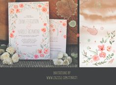 wreath if flowers watercolor wedding invitation 2