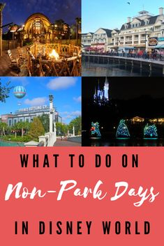 Looking for something to do on your non-park days at Disney? Check out these 15 things to do in Disney World besides the parks (some are even free). Disney World Tips And Tricks, Disney Tips, Walt Disney, Disney Fun, Disney Magic, Disney World Planning, Disney World Vacation, Disney Travel, Orlando Vacation