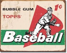 1958 Topps Baseball Cards Vintage Tin Sign