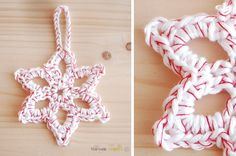 the new crochet: Christmas decoration (+ pattern)  Love the red thread carried along with the white yarn