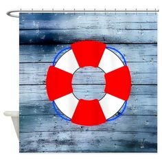 Lifesaver on Wood Board - Nautical Shower Curtain Nautical Flip Flops, Nautical Shower Curtains, Life Savers, Nautical Theme, Designer Throw Pillows, Chicago Cubs Logo, Home Projects, Wood, Fabric