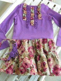 Free dress tutorial: kid tshirt + fabric. Would look cute w/o ruffles.