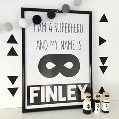 High premium personalised print for the little Superhero in your life!Available in A5, A4 and A3 PersonalisedAdd a touch of modern decor with our cool banner print - a lovely touch to child's room or nursery. Perfect for your little Superhero! A great addition to a superhero or monochrome bedroom. Our prints are printed on high quality banner material with eco-solvent inks for a fade free appearance. The material gives weight and a crisp matt sheen finish making our prints stand out from…