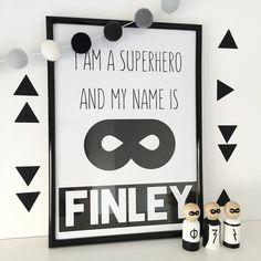 Personalised 'I Am A Superhero' Print - Home Decor Boys Room Decor, Kids Room, Batman Bedroom, Monochrome Bedroom, Big Boy Bedrooms, Superhero Room, Beautiful Houses Interior, Toy Rooms, Modern Decor