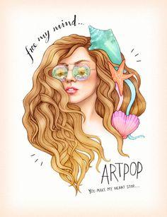 oh my gosh this is so cute! mermaid Lady Gaga Artpop fanart from Helen Green
