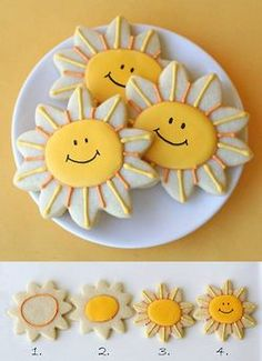 Good Morning Quotes : Happy Sunshine Cookies {Cookie Decorating - Quotes Sayings Summer Cookies, Fancy Cookies, Iced Cookies, Cute Cookies, Royal Icing Cookies, Cookies Et Biscuits, Cupcake Cookies, Cookie Favors, Valentine Cookies