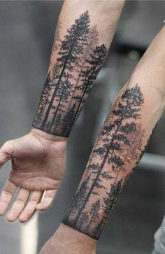 23 Unique Wrist Tattoos for Men in 2021 - The Trend Spotter Forest Tattoo Sleeve, Forest Tattoos, Full Sleeve Tattoos, Cute Tattoos On Wrist, Wrist Tattoos For Women, Hand Tattoos, Rib Tattoos Men, Male Arm Tattoos, Cuff Tattoo Wrist