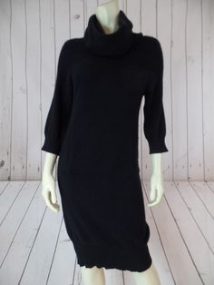 CHRISTOPHER FISCHER Cashmere Sweater Dress Small Black Pullover Knit Cowl Neck Unipouch Pocket Front 3/4 Sleeves HOT!