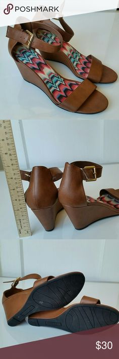 American Eagle Wedge Sandals Excellent condition wedge sandals with ankle strap.  Only worn once. American Eagle Outfitters Shoes Sandals