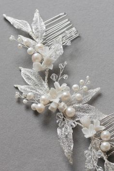 Decadent Delight | Silver wedding headpiece with pearls for Claire