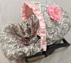 Infant Car Seat Cover, Baby Car Seat Cover including matching neck strap set Grey Damask on Etsy, $114.00
