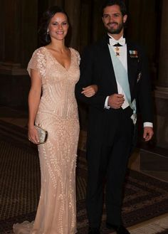 The King, Queen, Prince Carl Philip and Sofia Hellqvist at the dinner for the Nobel Laureates this evening